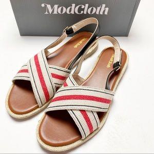 ModCloth NWT Red Charm Crossing Flat Sandal Sz 10